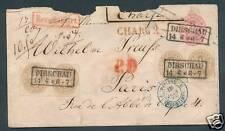 Preußen gewaltiger Einschreib - Frankreichbrief in Mix  mit Porto 13 Sgr. Paare