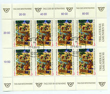 Austria 1995 stamp day sheet of 8 stamps used