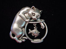 """""""JJ"""" Jonette Jewelry Silver Pewter 'Cat w/Hand in Fish Bowl' Large Pin"""