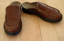 Clarks Wms Brown Leather Mules Loafers 7 M