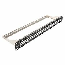 UNLOADED BLANK Shielded Keystone Patch Panel 48 Port 1U Cat6a Cat6 Cat5e and Bar