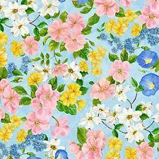 Wilmington Flights of Fancy 28093 435 Blue Flowers BTY Cotton Fab FREE US SHIP