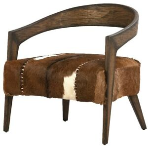 """30"""" W Arm Chair Round Wooden Frame Hide on Hair Leather Seat Exposed Stitching"""