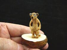 (TNE-MEE-335-B) MEERKAT suricate meerkats TAGUA NUT Figurine carving VEGETABLE