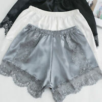 Lady Lace Floral Panties Underpants Imitated Silk Pajamas Underwears Soft Shorts