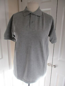 Mens Grey 100% Cotton Short Sleeved Polo/T Shirt - Size XL
