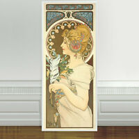 "Stunning Alphonse Mucha Feather ~ CANVAS PRINT 24""X10"" Art Nouveau"