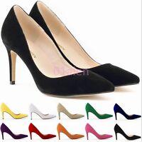 Hot Womens Mid Heel OL Multi-Color Slip on Velvet Pumps Wedding Shoe Plus Size