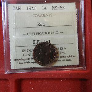 1943 1 Penny  MS 63 ICCS