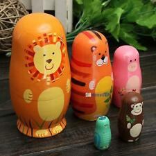 Set of 5pcs Hot Wooden Nesting Doll Matryoshka Animal Russian Doll Paint Gift SP