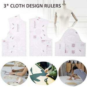 1:3 Women Cloth Design Ruler Template Clothing Prototype Sewing Tools Set