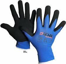 12 Pair Diesel Blue Safety Gloves Latex Coated Grip Cut Resistant