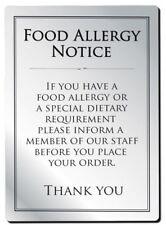 More details for  food allergy sign pub bar restaurant notice allergen warning law sign a4 size
