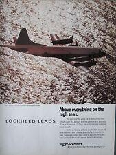 6/92 PUB LOCKHEED P-3 ORION MARITIME PATROL AIRCRAFT US NAVY ASW ASM ORIGINAL AD
