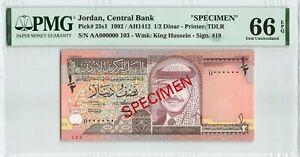 Jordan 1 Dinar 1992 P-23s1 Specimen PMG 66 EPQ
