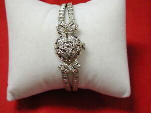 "14KT Diamond 1.75 carats  filigree dress watch bracelet 7"" carats 5/8"" wide"