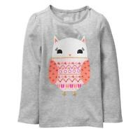 NWT Crazy 8 Sparkle Owl Girls Gray Long Sleeve Shirt 3T 4T 5T