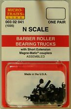 NEW Micro-Trains 00302041 Barber Roller Bearing Trucks w/Short Ext Couplers 1 Pr