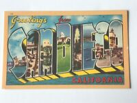 Postcard CA Large Letter Greetings From San Diego California Landmarks 1940's