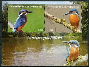 Central African Rep Birds on Stamps 2017 CTO Kingfishers Kingfisher 2v M/S II