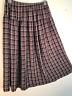 F.L. Malik Brown Plaid Long Crinkled Flared Skirt L