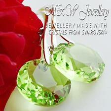 925 SILVER EARRINGS CRYSTALS FROM SWAROVSKI® CLASSIC CUT PERIDOT 14MM