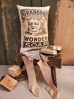 PRIMITIVE VINTAGE AMERICANA COLONIAL GRANDPA WONDER SOAP LAUNDRY BATH PILLOW