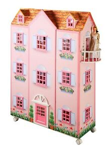 """New Paris Mansion 3 Story 47"""" H Pink Doll House & Dollhouse Furniture on Wheels"""