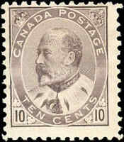 Mint NG Canada 1903 10c F Dull Lilac Scott #93i King Edward VII Issue Stamp