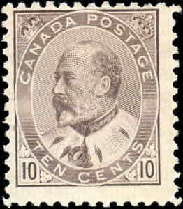 Mint NG Canada 1903 10c F Dull Lilac Scott #93i King Edward VII Issue Stamp