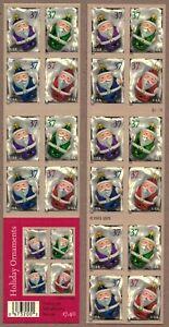 2004 CHRISTMAS SANTA ORNAMENTS 2-SIDED PANE of 20 STAMPS SCOTT 3883-3886b MNH