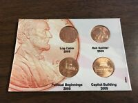 COMPLETE SET 2009 Lincoln Penny Cents 4 Coins UNCIRCULATED On Board