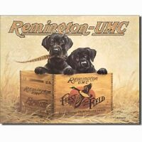 Remington UMC Finders Keepers First in the Field Hunting Dogs Vintage Tin Sign