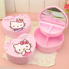 Hello Kitty Small Heart Shaped Mirror Storage Jewellery Box Pink K579
