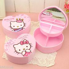 Hello Kitty Small Heart Shaped Mirror Storage Jewellery Box Pink K579