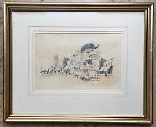 Original Irish Art Pencil Picture Sketch Drawing Belfast Tram By Bill McKibbin