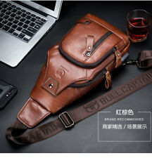 Men Genuine Leather Cowhide Chest Sling Shoulder Sport Bag Cross-body Waist Pack