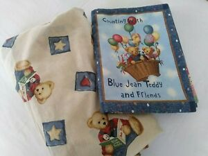 Blue Jean Teddy Bear Baby Fitted Crib Sheet & Fabric Book