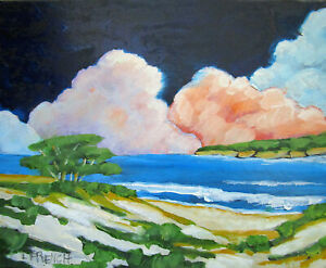 Carmel CALIFORNIA Monterey Bay CLOUDS Landscape Oil Painting Lynne French Art