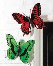 Set 2 Gigante Farfalla Giardino Muro RECINZIONE ALBERO montato Animale Ornamento Decorazioni