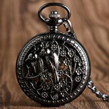 Winding Pocket Watch Chain Gift Vintage Flower Birds Skeleton Mechanical Hand