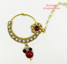 Gold Plated Diamond Stone Pearl Nose Pin Nath Nose Ring Bridal Necklace Jewelry