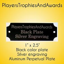 """1"""" x 2 1/2"""" Perpetual Name Plate Black - Silver engraving for perpetual plaque"""