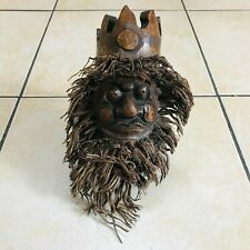 More details for hand carved bamboo tree root grotesque face mask wall hanging chinese style