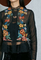 Ex Miss Selfridge Floral Lace  Embroidered Sheer Mesh Blouse rrp £35  Size 6 -16