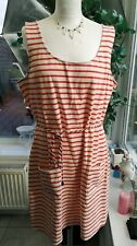Boden Dress Striped Sz 16L  WL883 BNWOT Orange & White, Tie belt NEW