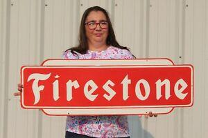 """Large Firestone Tires Tire Shop Gas Station 36"""" Porcelain Metal Sign"""