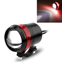 1x Halo Red Motorcycle Scooter Headlight LED Angel Eye Spot Light White High-Low