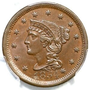 1854 N-19 R-3 PCGS MS 64 BN Braided Hair Large Cent Coin 1c