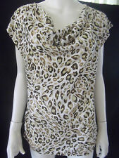 KATIES Womens White/Brown/Olive Green T-shirt size S